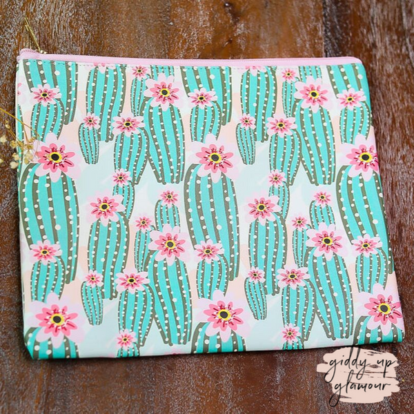 Cactus Cosmetic Bag in Pink