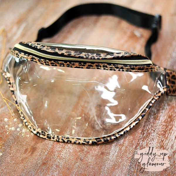Clear Fanny Pack with Metallic Leopard Trim in Rose Gold