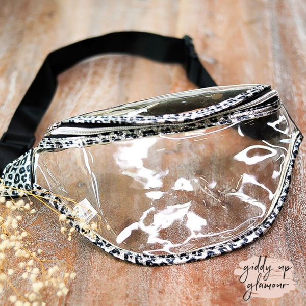 Holiday Special | Clear Fanny Pack with Metallic Leopard Trim in Silver