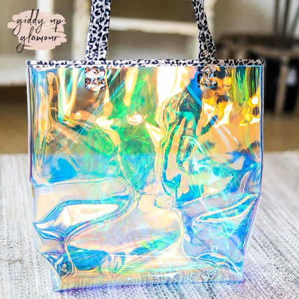 Clear Hologram Tote Bag with Metallic Leopard Trim in Silver