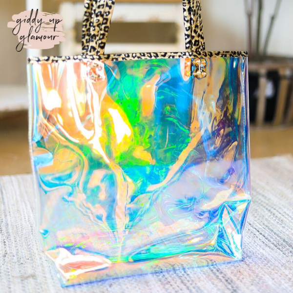 Clear Hologram Tote Bag with Metallic Leopard Trim in Gold