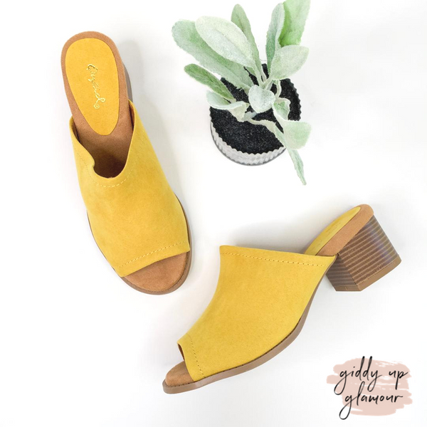 My Moment Heeled Slide-On Sandals in Yellow