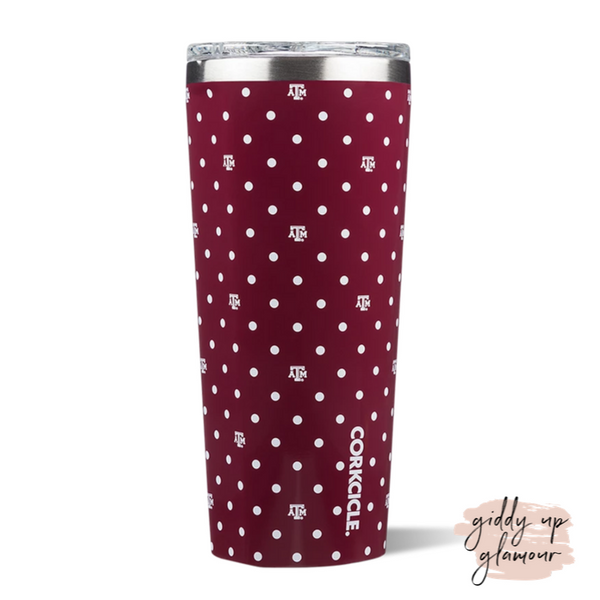 24 oz Corkcicle Texas A&M | Tumbler - Polka Dot
