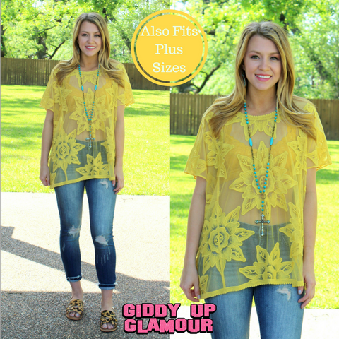 Living My Dream Floral Lace Dolman Top in Mustard Yellow