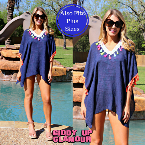 Lounging Poolside Cover Up with Neon Tassel Trim