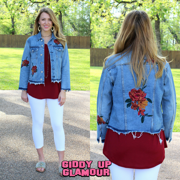 Take Me Along Denim Jacket with Floral Embroidery