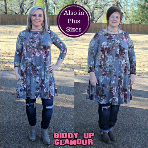 Brimming With Charm Floral Tunic Dress in Grey
