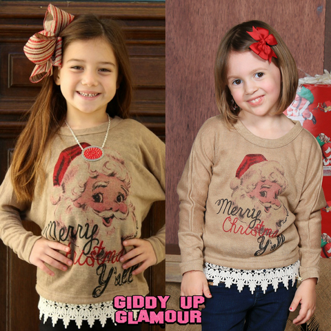Kids Merry Christmas Yall on Tan Dolman with Lace Trim