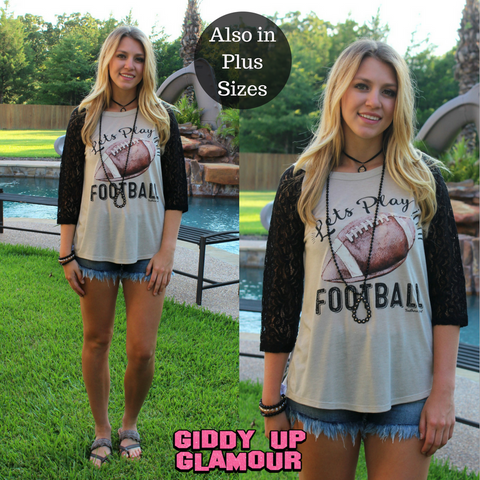 Adult: Let's Play Football Baseball Tee with Black Crochet Sleeves
