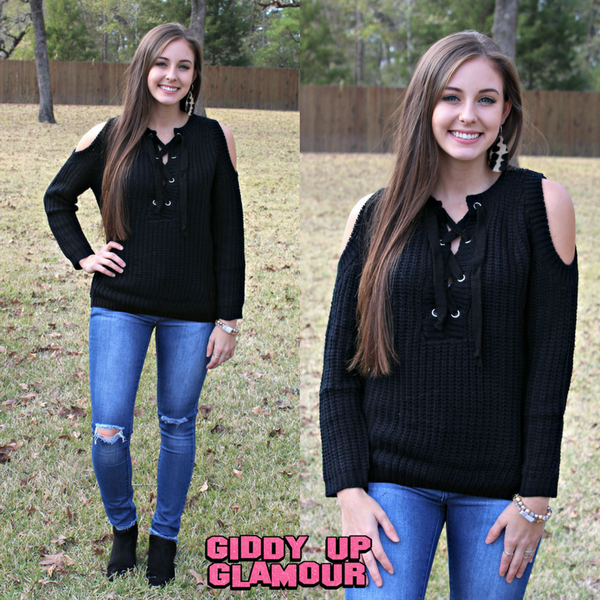 Hometown Girl Lace Up Cold Shoulder Sweater in Black