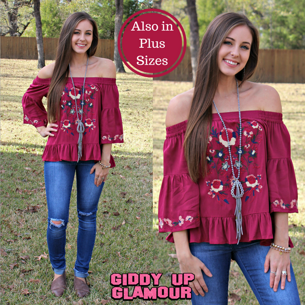 Expanding Horizons Off Shoulder Embroidery Top in Maroon
