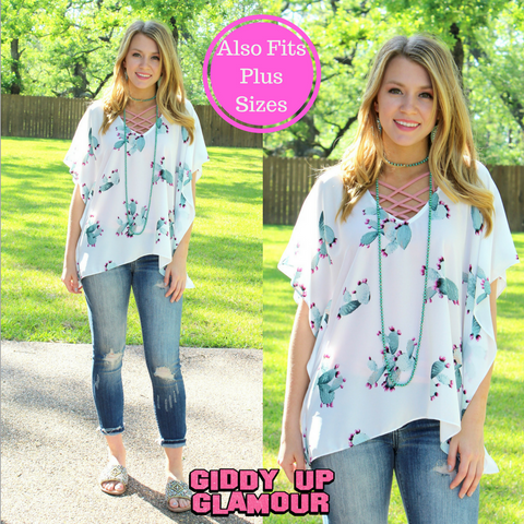 Forever Favorite Cactus Oversized Poncho Top in White