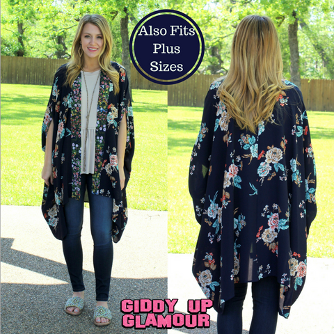 Sweet Desires Floral Kimono Duster in Navy Blue