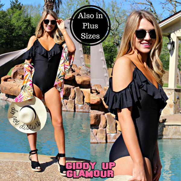 Written in the Sand Cold Shoulder One Piece Swimsuit in Black