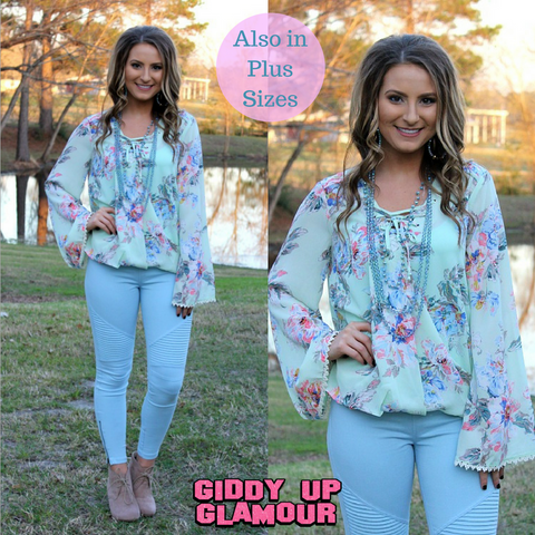 One Sweet World Floral Lace Up Top in Mint