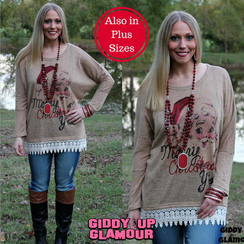 Merry Christmas Y'all Tan Dolman with Crochet Trim