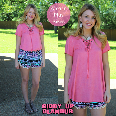 Time After Time Lace Up Top in Pink