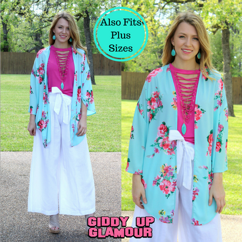 A Moment in Spring Floral Kimono in Turquoise