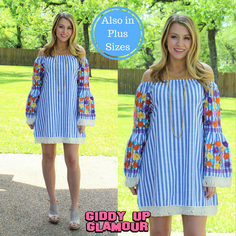 Always the Favorite Stripe Dress with Floral Embroidery Dress in Blue