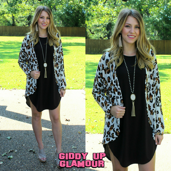 Hear Me Roar Leopard Print Cardigan in Brown