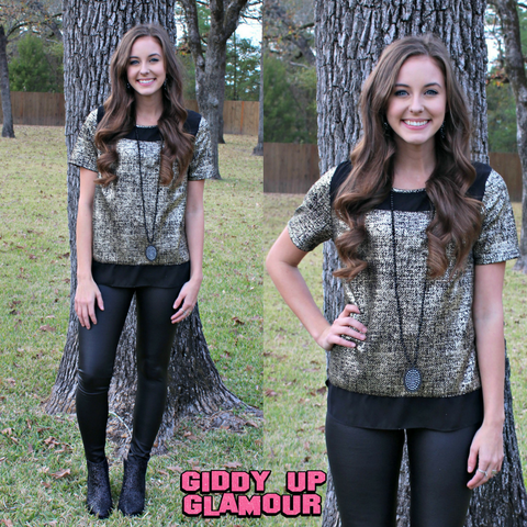 Trimmed in Stardust Short Sleeve Gold Foil Top in Black