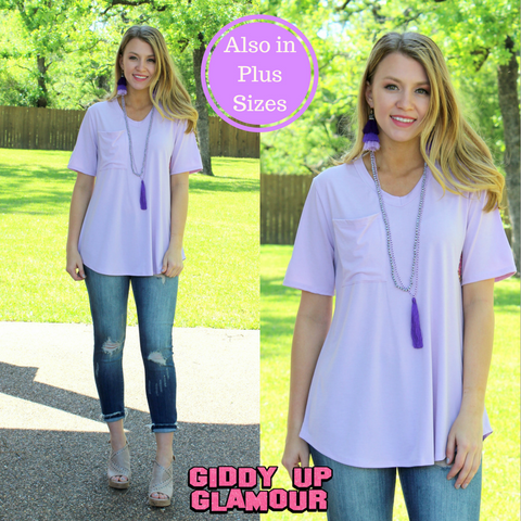 Just Right Short Sleeve Pocket Tee in Lavender
