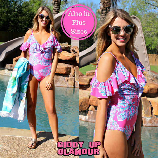 Written in the Sand Cold Shoulder One Piece Swimsuit in Pink Palm Leaf Print
