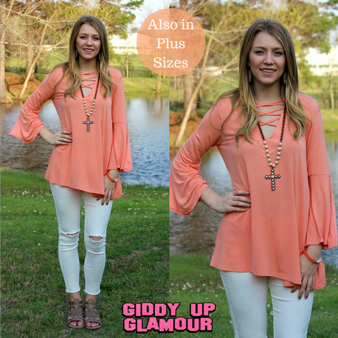 Modern Mix Up Criss Cross Fron Top in Coral