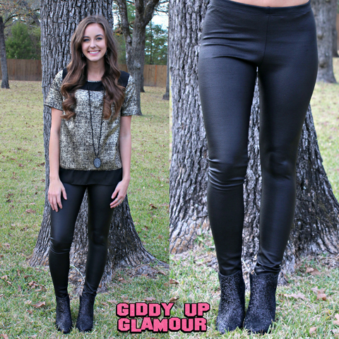 She's Unstoppable Textured Faux Leather Leggings in Black Matte