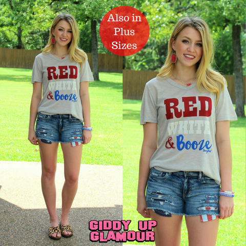 Red, White & Booze Short Sleeve Tee Shirt