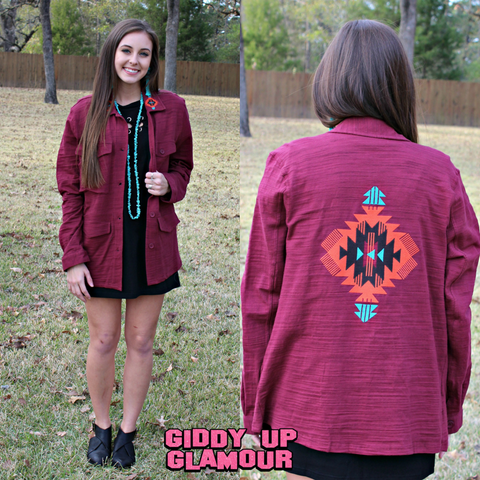 A Sure Shot Aztec Embroidered Jacket in Maroon