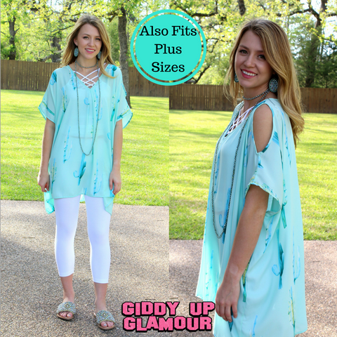 Pretty Little Thing Cactus Sheer Open Shoulder Tunic in Mint
