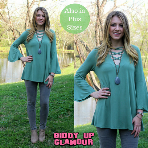 Modern Mix Up Criss Cross Fron Top in Sage Green