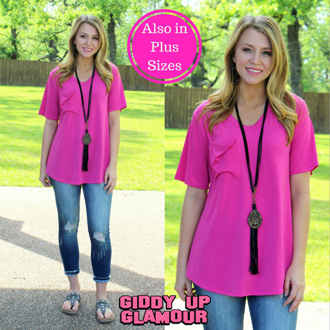 Just Right Short Sleeve Pocket Tee in Hot Pink