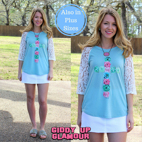 Succulent Cross Baseball Tee with Lace Sleeves in Mint Blue