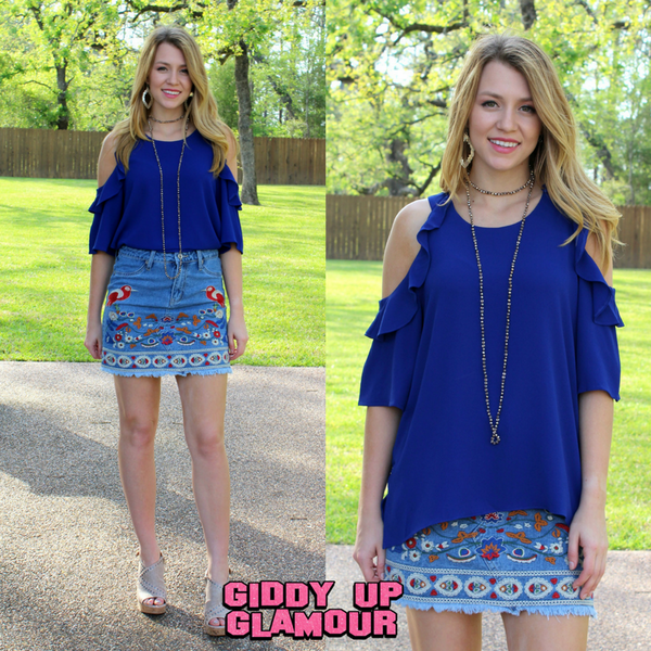 Stylish Surprise Cold Shoulder Blouse in Royal Blue