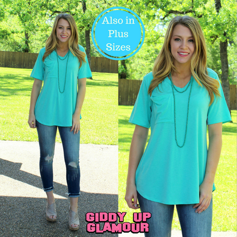 Just Right Short Sleeve Pocket Tee in Mint
