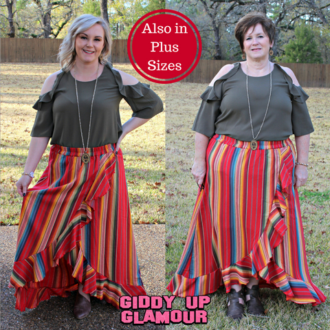 Current Obsession Serape Ruffle Skirt in Red