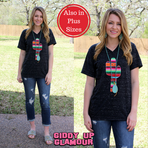 Agave Serape Cactus Short Sleeve Tee in Black Marble