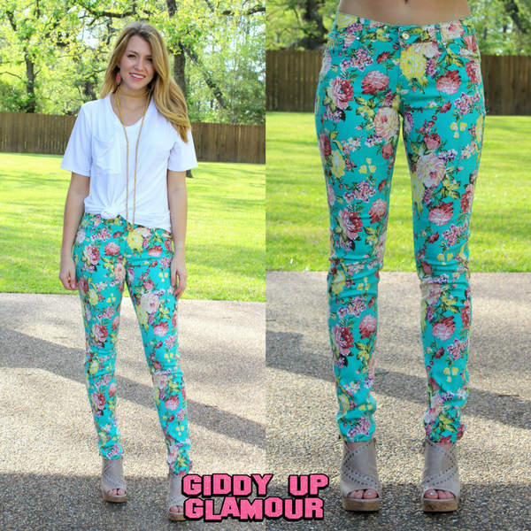 WEEKEND SPECIAL | In Full Bloom Floral Printed Pants in Mint