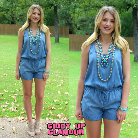 Something Major Sleeveless Denim Chambray Romper