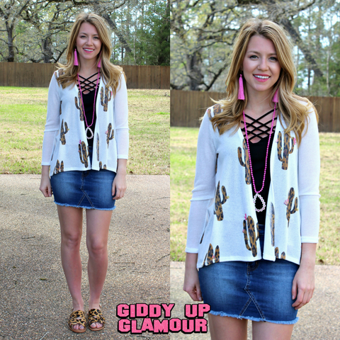 Live In The Moment Leopard Print Cactus Cardigan in White