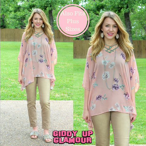 Sure Thing Sheer Floral Print Oversized Poncho Top in Dusty Pink