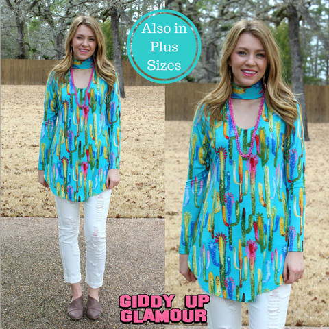 Bold Streak Long Sleeve Cactus Keyhole Top in Turquoise