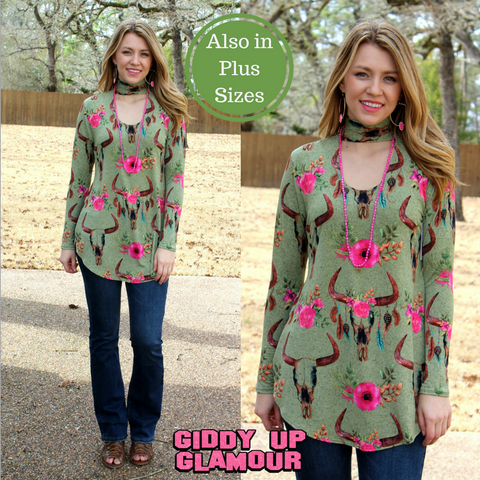 Bold Streak Long Sleeve Bullhead Keyhole Top in Olive Green