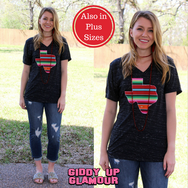 Agave Serape Texas Short Sleeve Tee in Black Marble