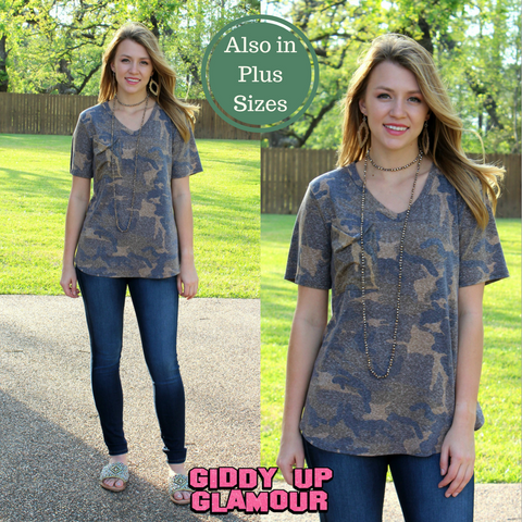 Just Right Short Sleeve Pocket Tee in Camouflage