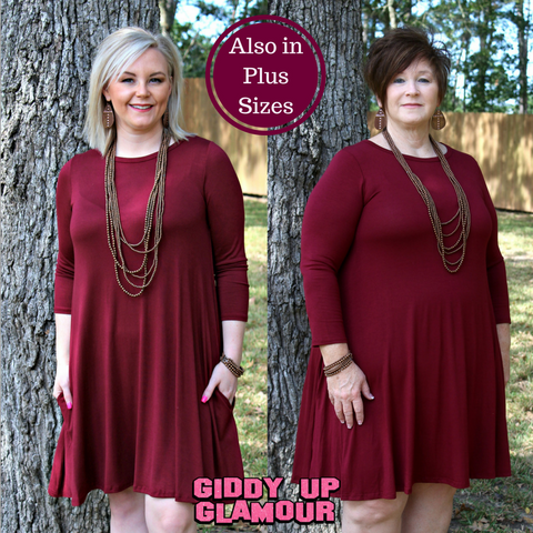 On The Go Girl 3/4 Sleeve A Line Tunic Dress in Maroon