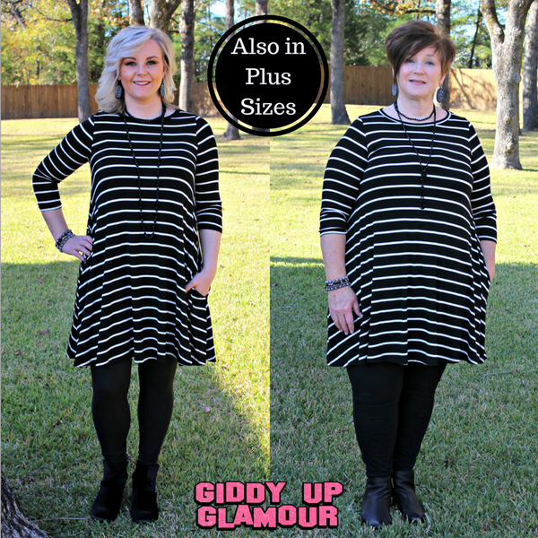 All The Stripe A Line Tunic Dress in Black