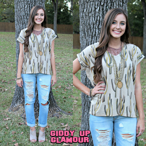 Can't Stop Me Distressed Cactus Short Sleeve Dolman Top in Mustard